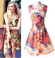 Print Floral Listrado Barato Mulheres Vestido de Chiffon Plus Size Mulheres Roupas Elástico Na Cintura Curto Vestido de Verão Vestidos Femininos D216