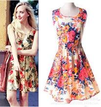 Print Floral Striped Cheap Women Chiffon Dress Plus Size Women Clothing Elastic Waist Short Sundress Vestidos