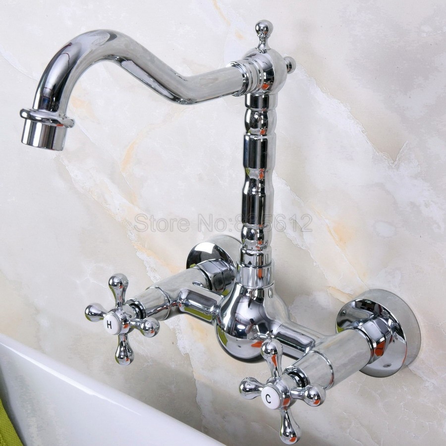 Polished Chrome Swivel Spout Kitchen Sink Basin Faucet / 2 Hole Wall Mounted Vessel Sink Dual Handles Mixer Taps Tnf970