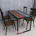 Iron wood dining table and chairs casual coffee colorful stripes retro minimalist desk computer desk combination home