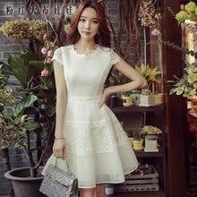 dabuwawa dress summer 2017 new fashion korean short sleeved hollow out temperament casual waist dresses women wholesale