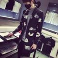 Новый стиль весна мода мужчины хан - издание длинные широкий цветочный верхней одежды однобортный свободного покроя мужской пиджак