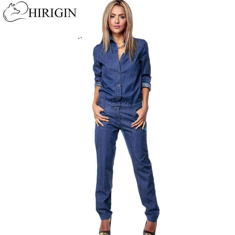 000022234f5 HIRIGIN 2017 Women Casual Denim Jumpsuit Romper Long Sleeve Blue Button  Bodycon Bodysuit S-XL