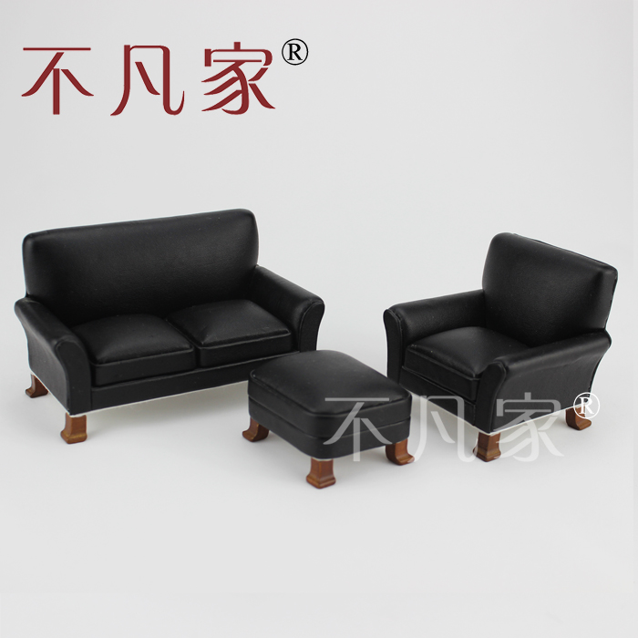 Baik 1 12 Skala Miniatur Furniture Hitam Ruang Tamu Sofa Set Di