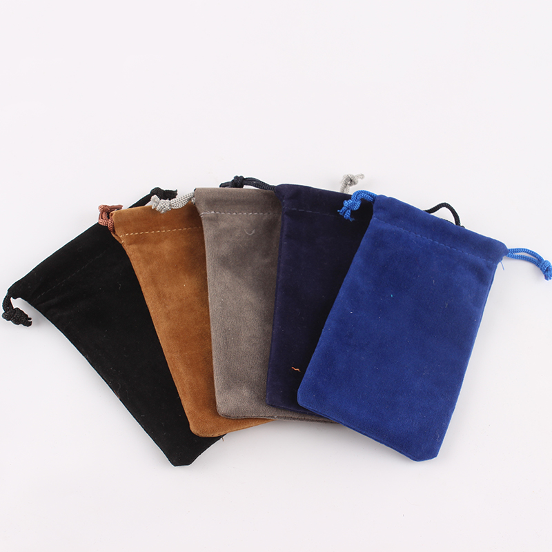 10pcs/lot 6*12 Cm Custom Logo Printed Drawstring Bag Velvet Pouch Candies Food Package