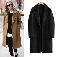 Queechalle M 5XL Plus Size Wool Coat 2018 Autumn Winter Black Camel Women's Coat Casual Long Coats Loose Thick Warm Outerwea