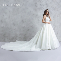 Spaghetti Strap Pearl Beaded Wedding Dress Luxury Satin Cathedral Bridal Gown High Quality