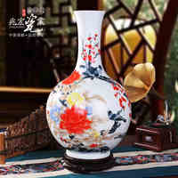 Jingdezhen Zhaohong porcelain full hand throwing magpies Primula high end custom antique vase