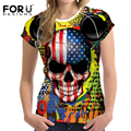 Forudesigns mulheres de manga curta t-shirt do crânio do punk cabeça de impressão verão Camisa de T Das Mulheres Novas Roupas Casuais Tops Camiseta Femme Tshirt