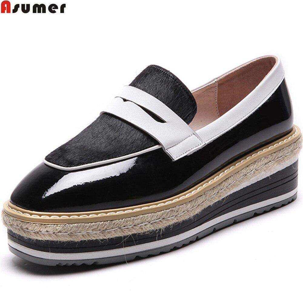 ASUMER Platform Wedges High-Heels Shoes Spring Square Toe Fashion Woman Brown Black Casual