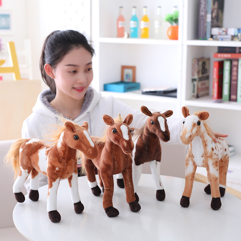 1pc 40cm Cute Simulation Horse Plush Toys Staffed Animal Realistic Horse Doll Kawaii Birthday Gift for Children Home Decoration