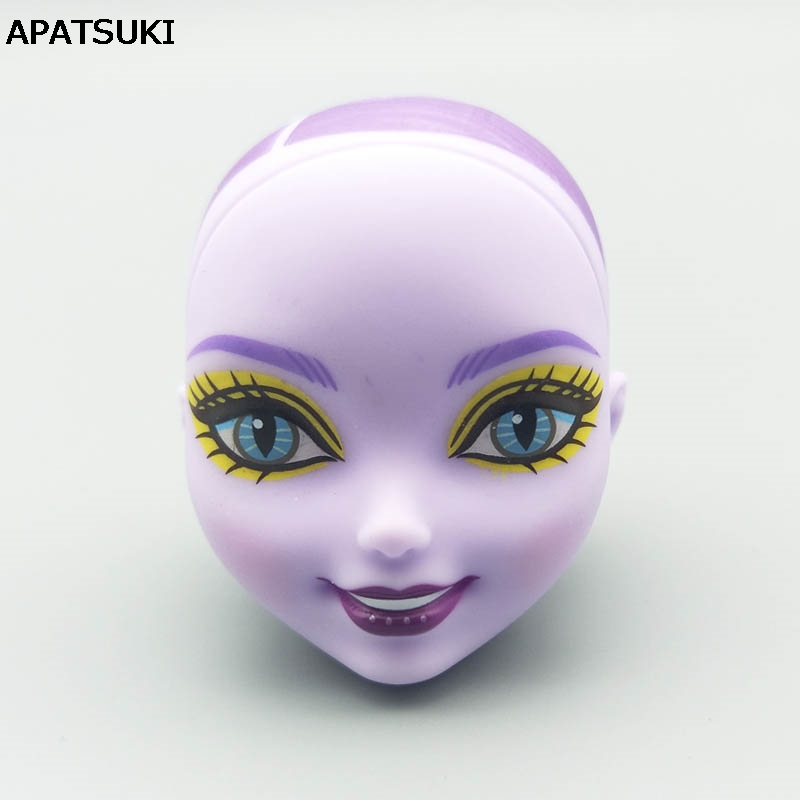 Purple Color Bald Soft Doll Head For Monster High Doll Head BJD Doll's Practicing Makeup Monster Head 1/6 Doll Accessories