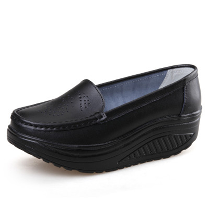 QSR spring genuine leather soft outsole work shoes female black swing shoes woman plus size wedges single female shoes