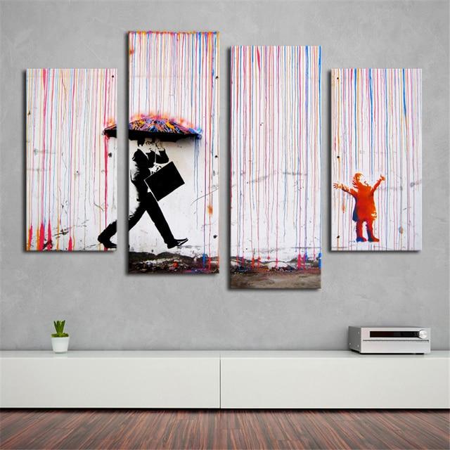 Banksy Art Coloré Pluie Mur Mur De Toile Art Peinture Salon
