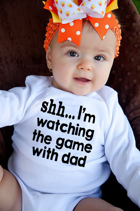 I Am Watching The Game With Dad Print Baby Rompers Body Suits Newborn Boys Girls One-pieces Printed Baby Long Sleeve Ropa Bebe