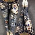 2016 новый осень и зима джинсы женские ногтей шарик отверстия упругой лоскутное Позолота тонкий карандаш джинсы женские уличной