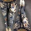 2016 novo outono & inverno calças jeans femininas prego talão buracos patchwork elástico Gilding magros lápis calças de brim das mulheres streetwear