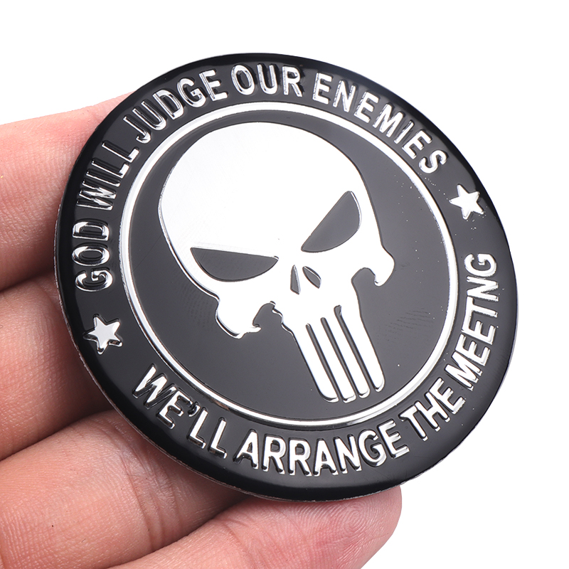 Image 5 - 4pcs 56mm Punisher Skull Logo Aluminum alloy Car wheel center hub caps Aluminum Emblem Badge Sticker Car styling Accessory-in Car Stickers from Automobiles & Motorcycles