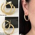 2017 Brincos para as mulheres jóias sem perfurou clipe Auricular Ouro prata Moda lady 30 MM 40 MM feminino estilo clássico muito generoso
