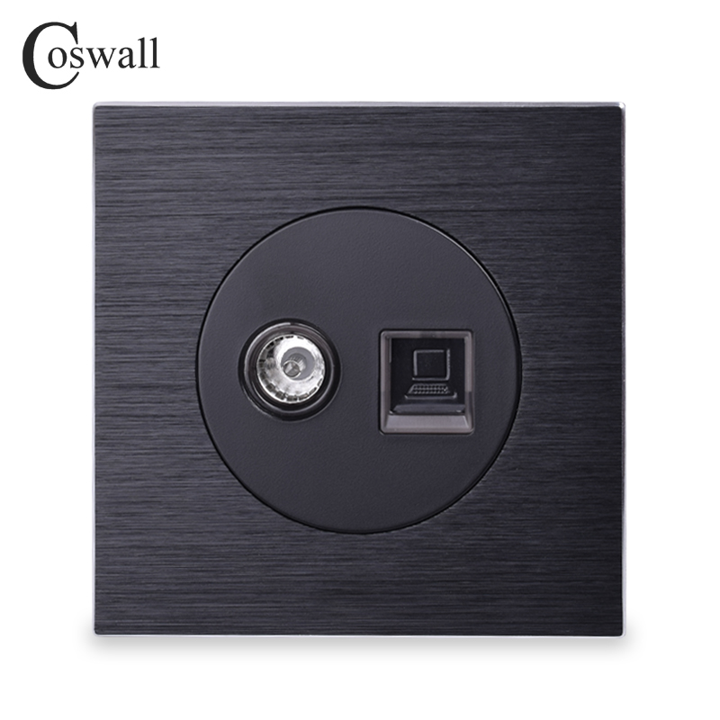 Coswall Aluminum Panel RJ45 Internet Jack With TV Outlet Wall Data Computer Socket Knight Black