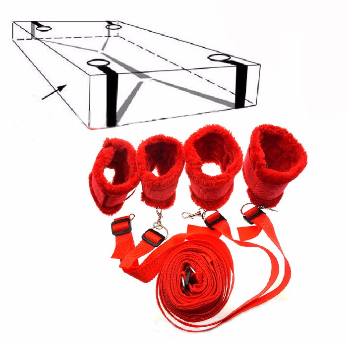 Plush Under Bed Restraint System Intelligent Sex Furniture Nylon Bondage Restraints Kit Handcuffs &ankle Cuffs Erotic Adult Sex Toys Carefully Selected Materials