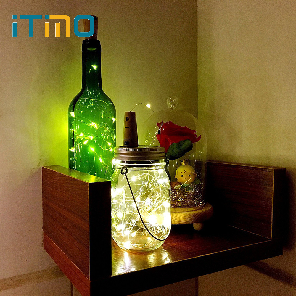 ITimo Copper Wire LED String Lamps Cork Shaped For Bar Xmas Party Wedding Decoration Wine Bottle Stopper Light