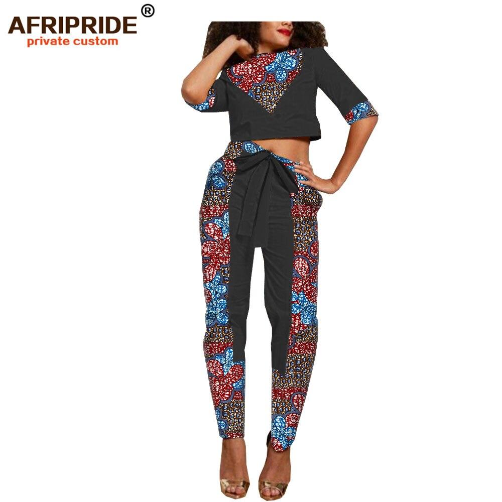 Kadın Giyim'ten Kadın Setleri'de 2019 afrika dashiki balmumu bahar pantolon seti kadınlar için AFRIPRIDE yarım kollu kısa üst + ayak bileği uzunluk pantolon rahat kadın seti A1826030'da  Grup 3