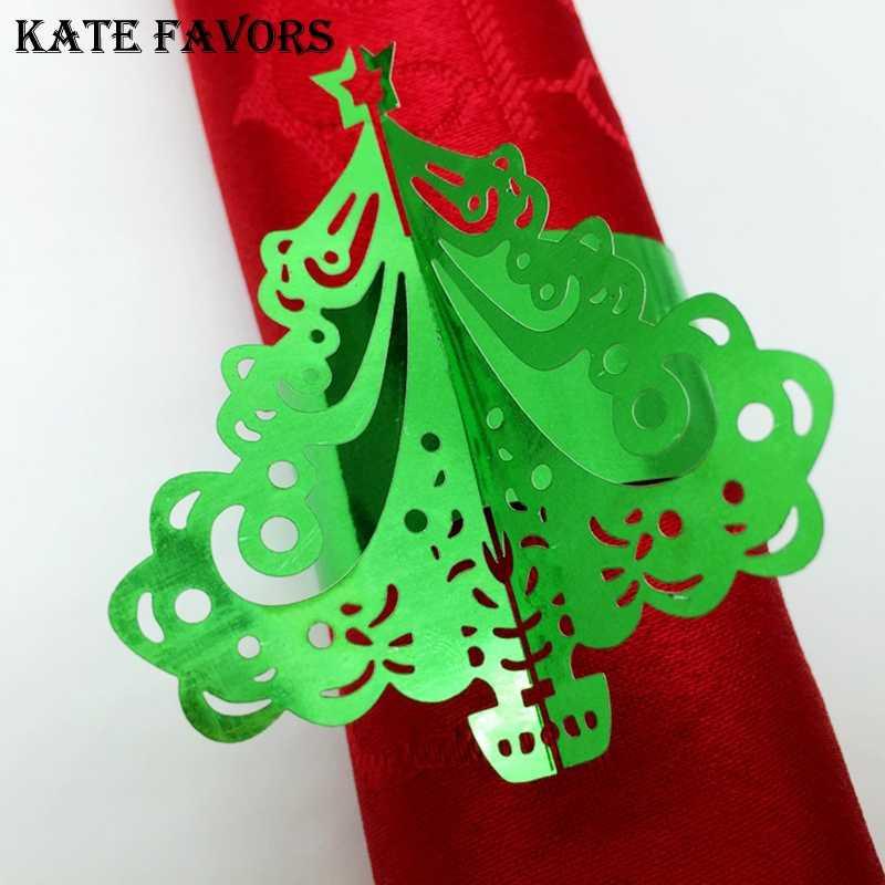 Christmas Tree Napkin Rings.Fashion 50pcs Lot Reflective Paper Christmas Tree Napkin Rings Weddings Home Party Serviette Table Decoration