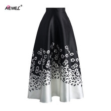 ADEWEL Summer Vintage High Waist Women A Line Skirts Elegant Floral Ptinted Casual Skirt Fashion Color Block Maxi Skirt Black
