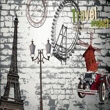 Dropship Colomac Retro fondos De pantalla noria rueda Eiffel Torre pared del dormitorio papeles Vintage Mural Papel De pared 3d