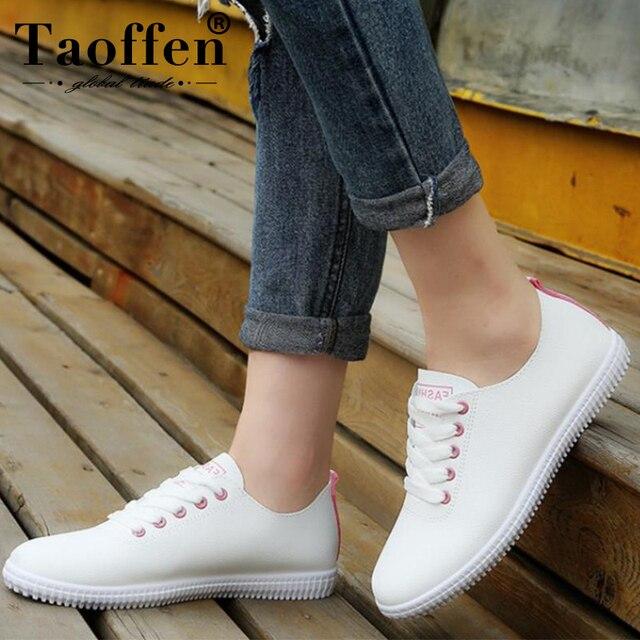 TAOFFEN zapatillas de deporte para mujer, zapatos vulcanizados para mujer, zapatos casuales de punta redonda, zapatos de moda para mujer, talla 35- 40