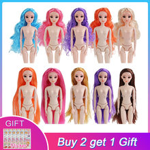 UCanaan Nude Doll With 3D Eyes Straight Curls Hair Head Children DIY Toys for Girls Doll Accessories(China)