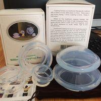 4 יחידות פרמיה כוס סיליקון שקוף סיליקון ואקום רפואי צלוליט טיפול סיני כוסות רוח סט עיסוי בריאות כוסות