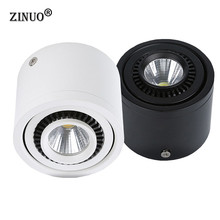 ZINUO 5W  Surface Mounted LED Downlight, Adjustable COB Led Ceiling Downlight, White/Black AC85-265V Spot Light With Led Driver все цены