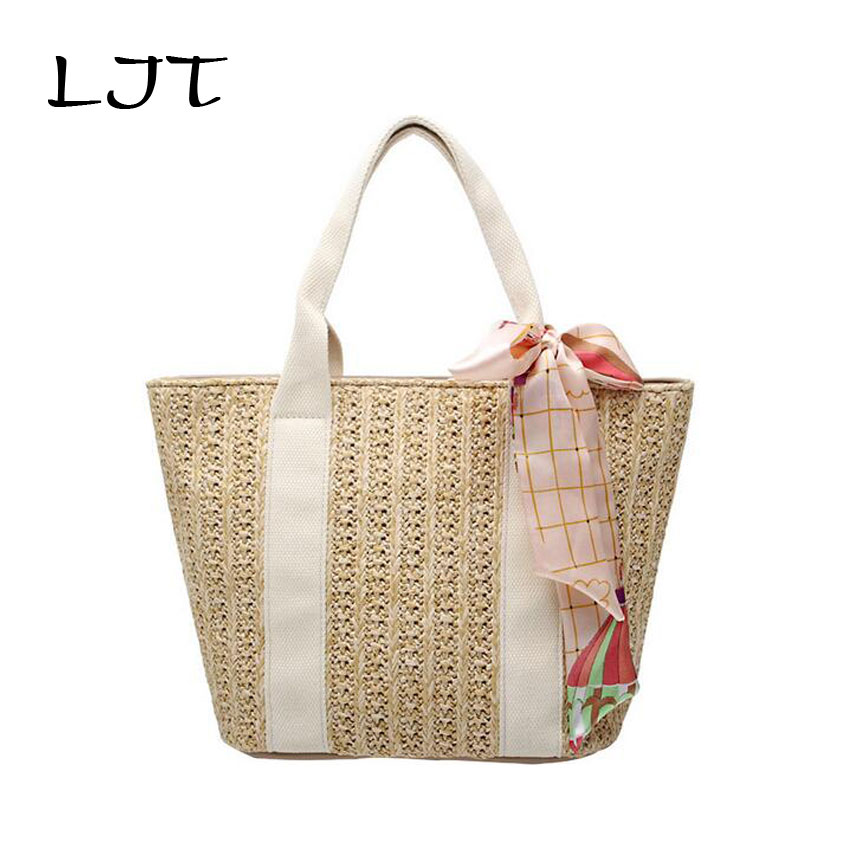 LJT Bohemian Casual Straw Bag Natural Wicker Wristlets Bags Women Hand Wove Handbag for Summer Mini Woven Rattan Beach Bags Bali