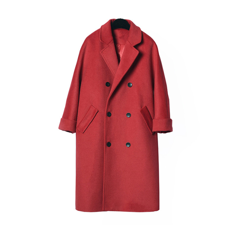 wool coat women long maxi coat winter Wool Blends coat red