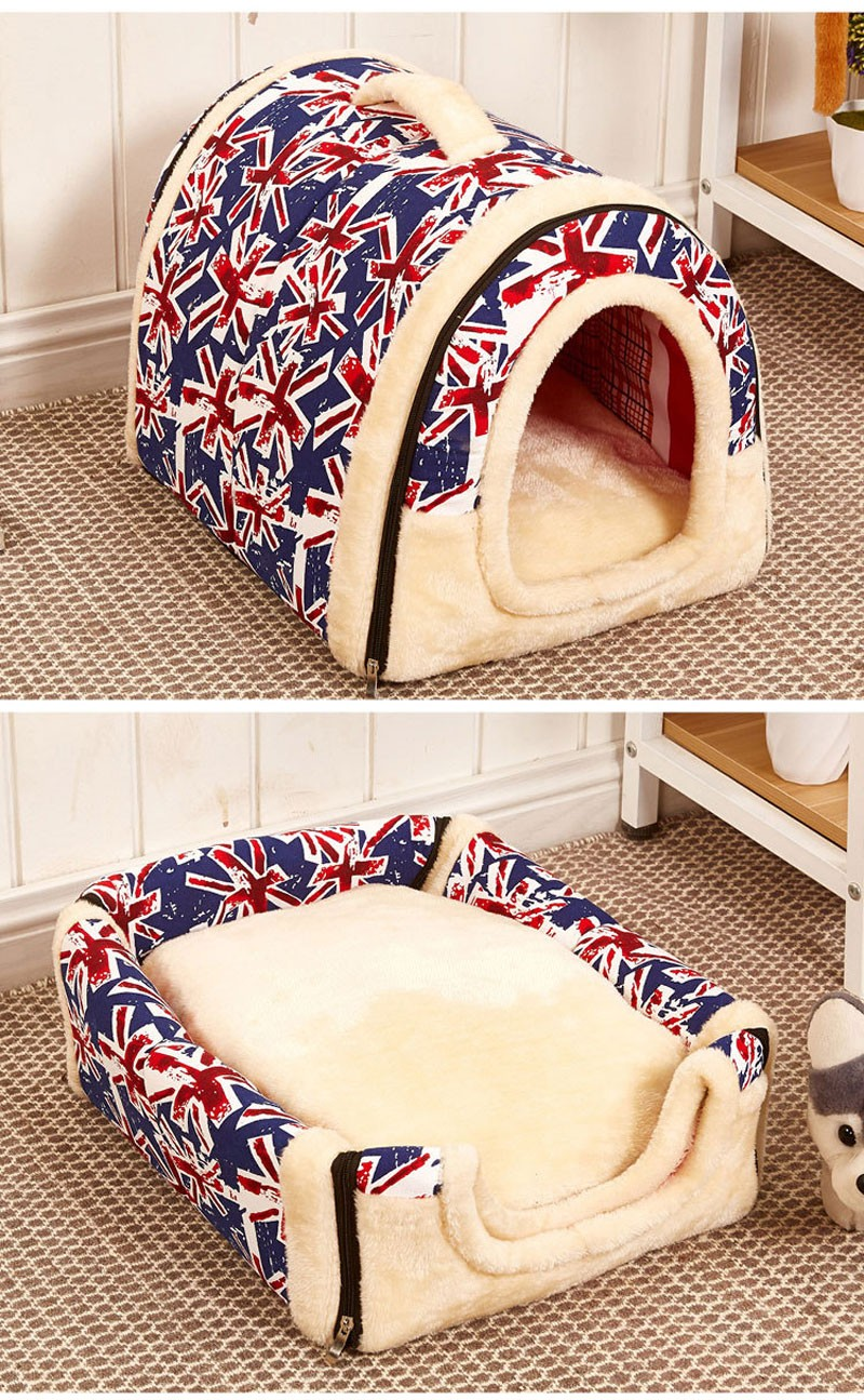 CAWAYI KENNEL Dual Use Soft Plush Dog Bed Dog Kennel Pet House For Puppy Dogs Cat Small Animals Mat U0856 14