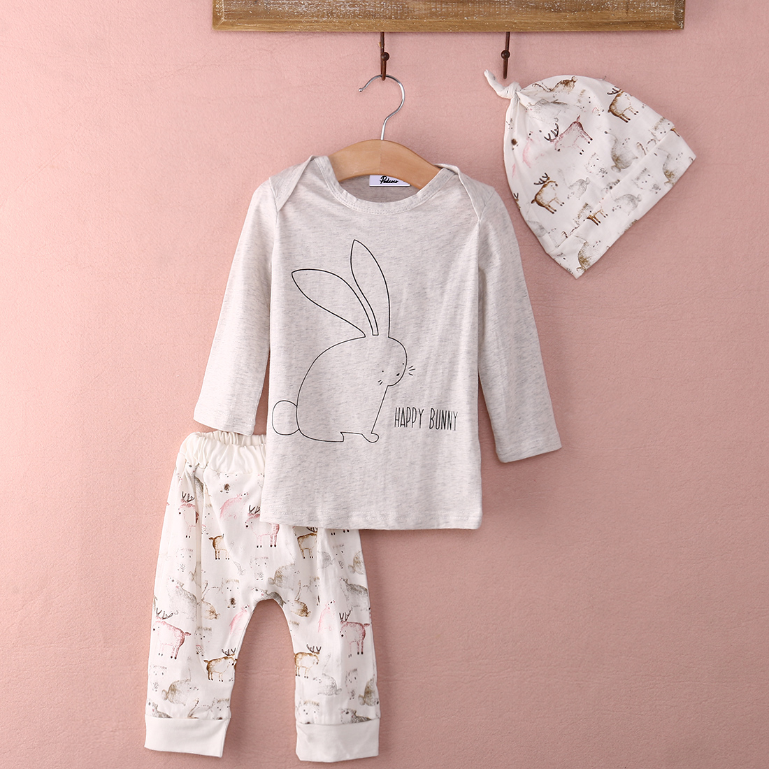 Soft Baby outfits clothes homewear Infant Baby Girl Bunny Cotton T shirt Tops Print Pants Hat 3pcs Home Outfits Set Clothing Boy