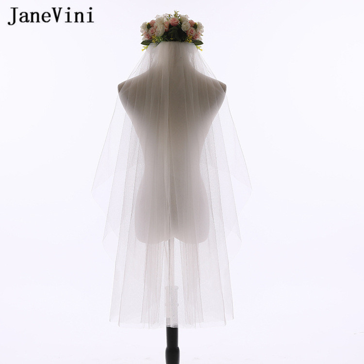 JaneVini Simple Short Wedding Veil Cheap White Ivory Cut Edge Wedding Veils with Comb Two Layer Veil Bridal mariage accessoire