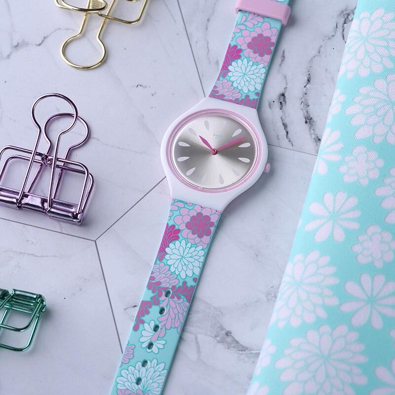 Swatch Watch SKIN Gorgeous Flower Print Quartz Watch SVOZ100 цена и фото