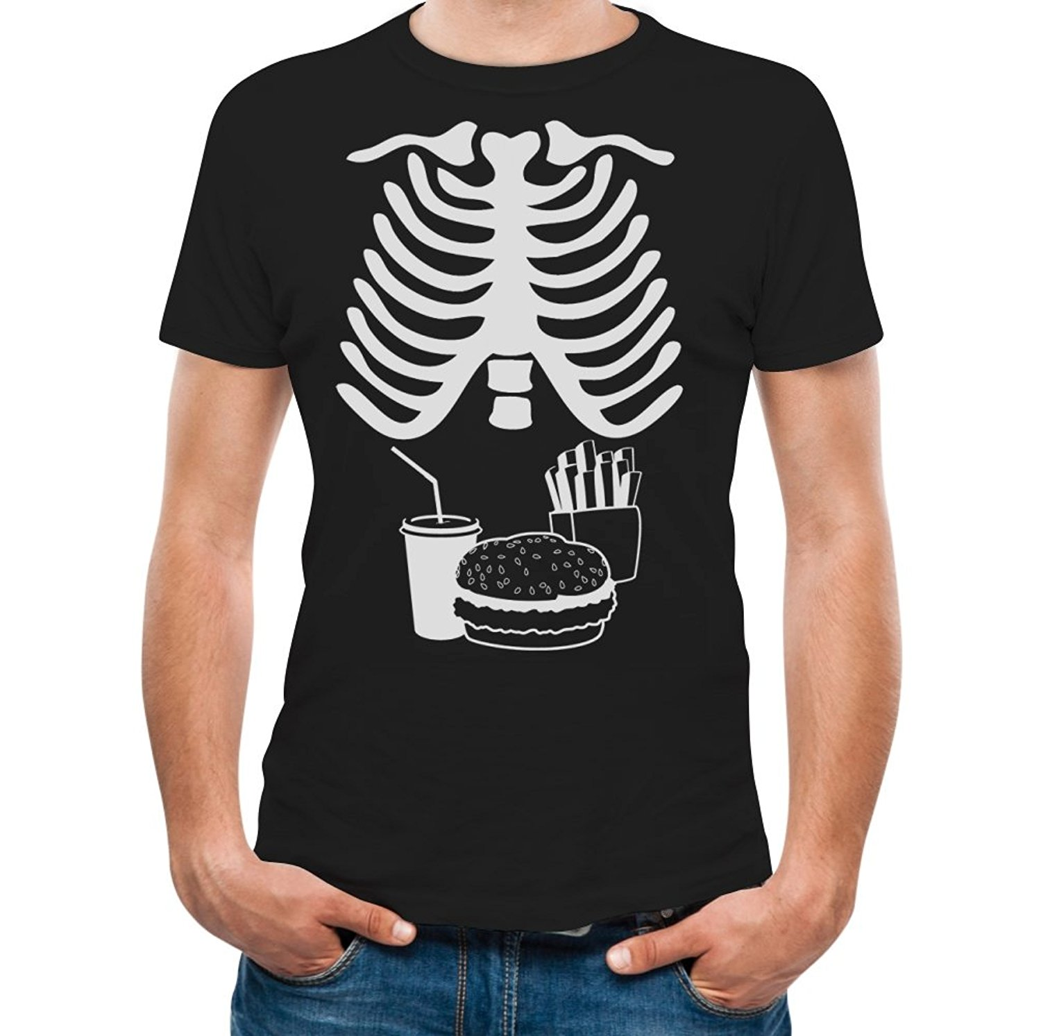 Halloween x ray skeleton junk food belly xray funny men t for Best dress shirts 2017