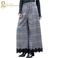 Vintage Patchwork Lace Plaid Women Wide Leg Pants Loose Large Size High Waist Ladie Pant 2017 Winter Fashion Women's Clothing