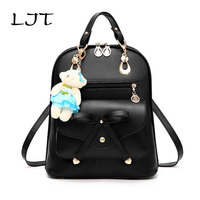 LJT Famous Brand Women Backpack Spring And Summer New Students Fashion Casual Lovely Bear Female