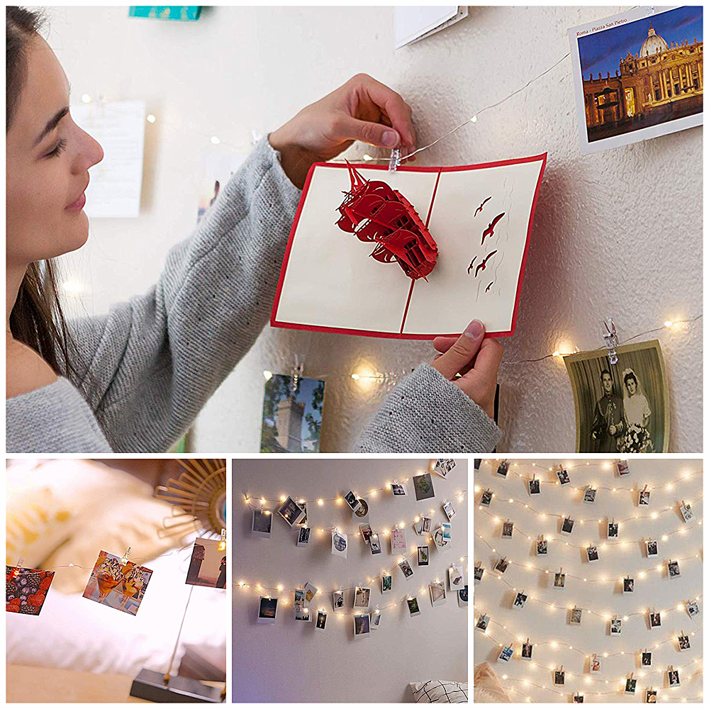 Photo Clip USB LED String Lights Fairy Lights Outdoor Battery Operated Garland Christmas Decoration Party Wedding Xmas (25)