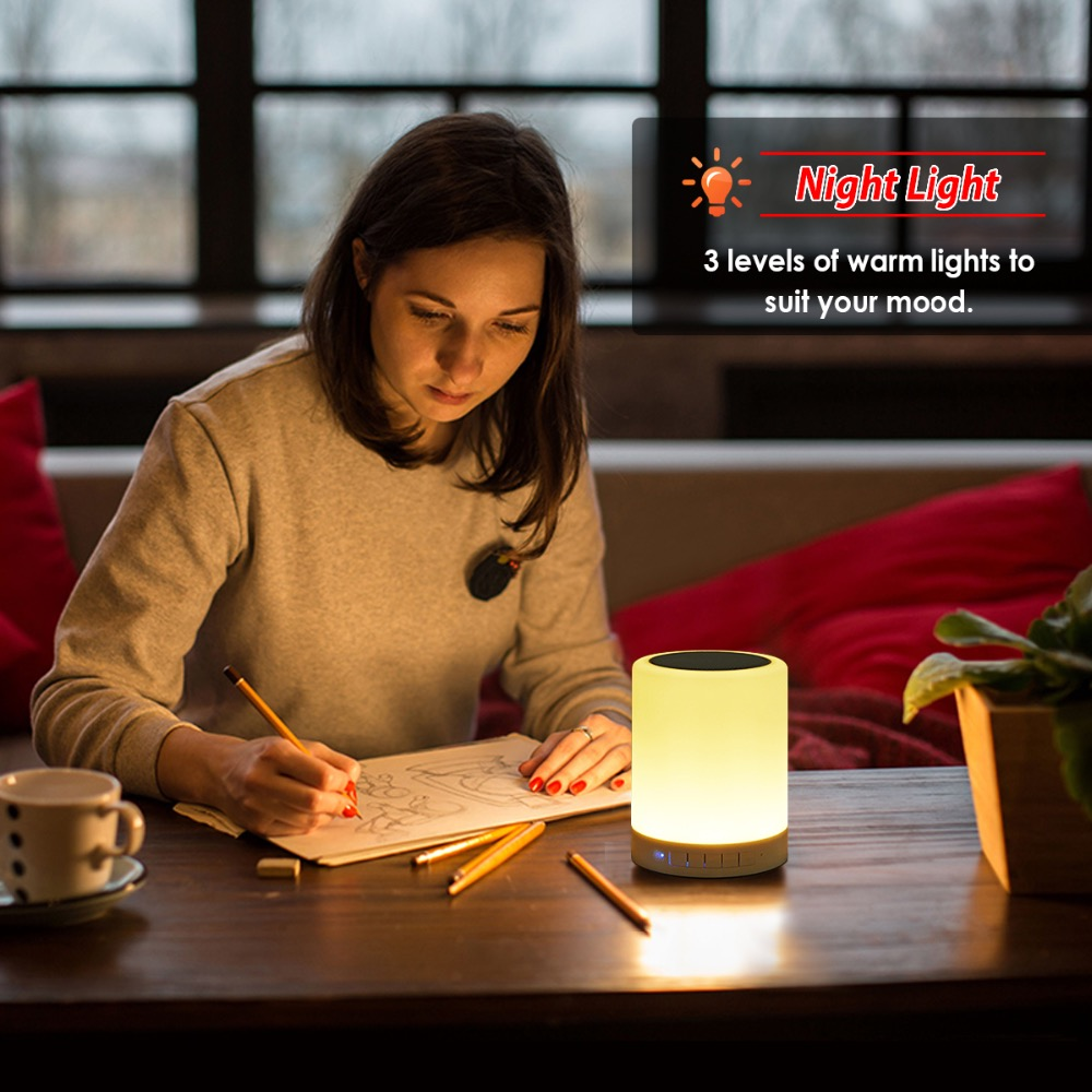 Rechargeable Warm White Light RGB Color Bedrooms Living Room Portable LED Bedside Table Lamps Touch Lamp Night Light