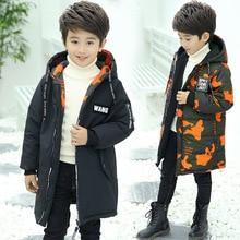 цены на Winter Boys Parkas Thick Camouflage Wear On Both Sides Warm Jackets Hooded Long Cotton-jackets For 5-14T Children  в интернет-магазинах