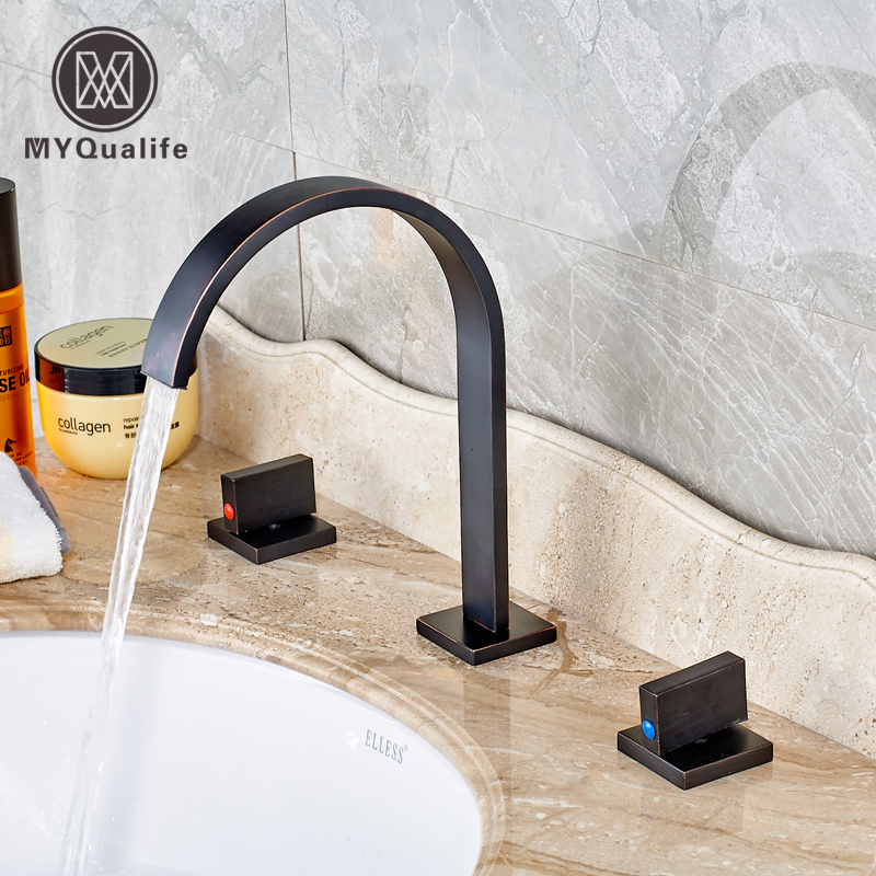 New Design Double Square Handle Bathroom Basin Faucet Bath Spout Washing Taps Oil Rubbed Bronze FinishedNew Design Double Square Handle Bathroom Basin Faucet Bath Spout Washing Taps Oil Rubbed Bronze Finished