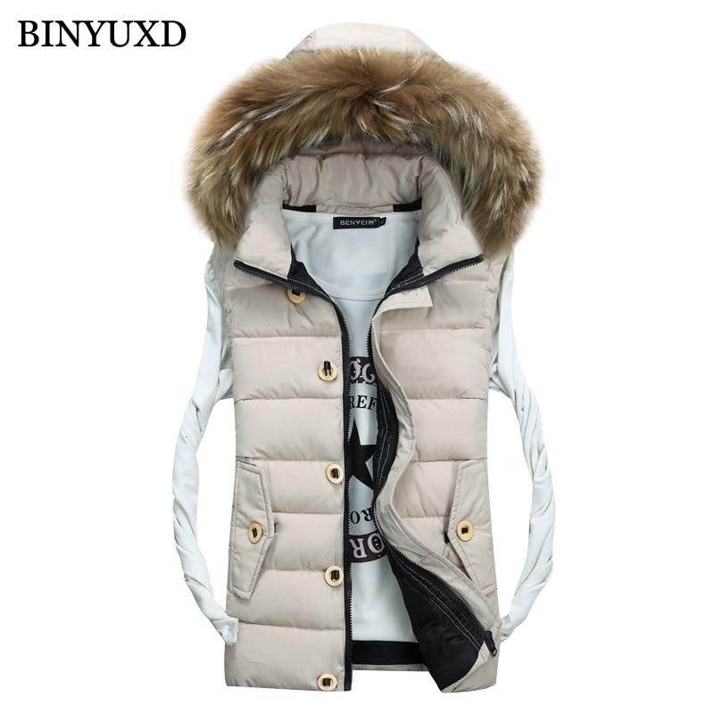 BINYUXD Cotton Men Vest Fake Fur Hooded Brand Men Sleeveless Jacket Thick 2017 Autumn Male Slim Windproof Warm Waistcoat S-3XL