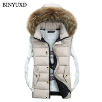 BINYUXD Cotton Men Vest Fake Fur Hooded Brand Men Sleeveless Jacket Thick 2017 Autumn Male Slim