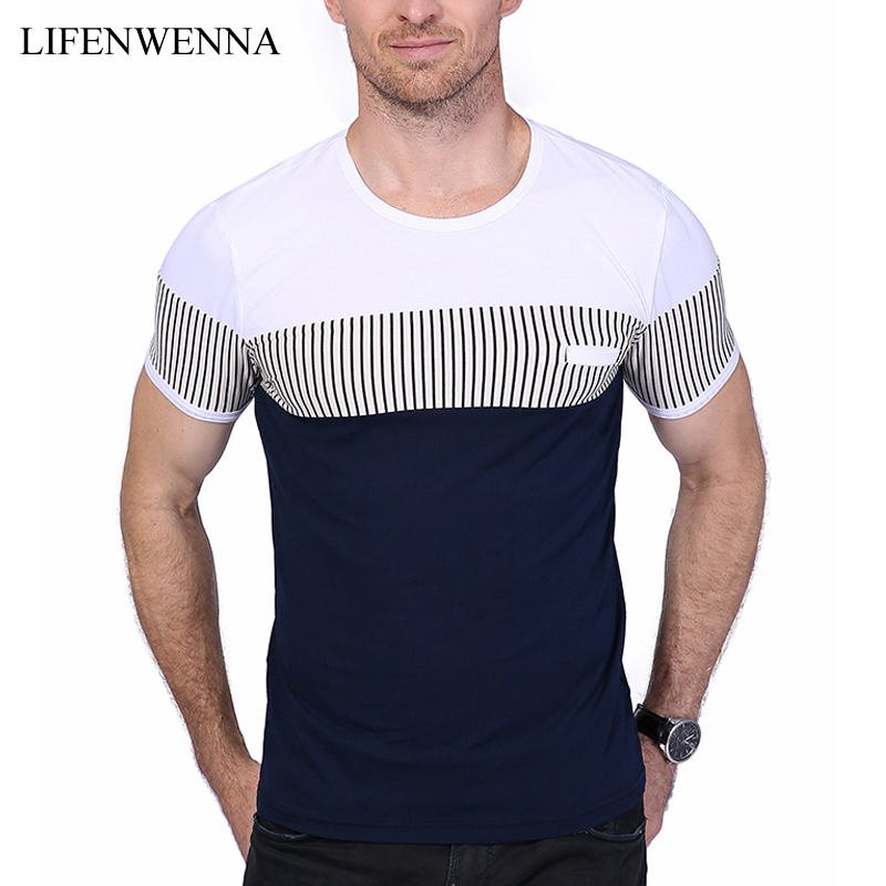 New Fashion Men's T Shirt Summer Patchwork O Neck Short Sleeve T Shirt Mens Clothes Trend Slim Fit Mens Casual Top Tee Shirt 5XL